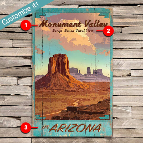 Monument Valley Tribal Park SIgn, Poster printed on wood