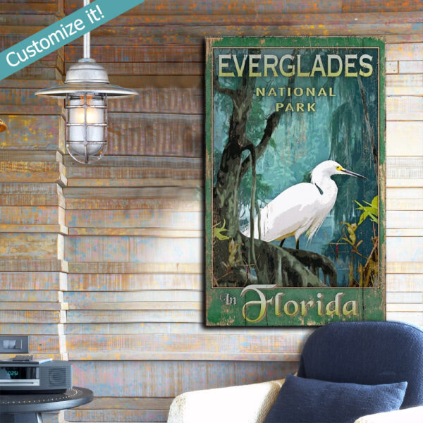 Everglades National Park Wood Sign, personalized national park art printed on wood, Florida Signs
