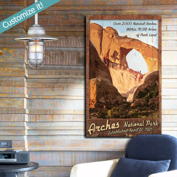 Arches National Park Sign, Custom National Park Wall Art, Poster printed on wood