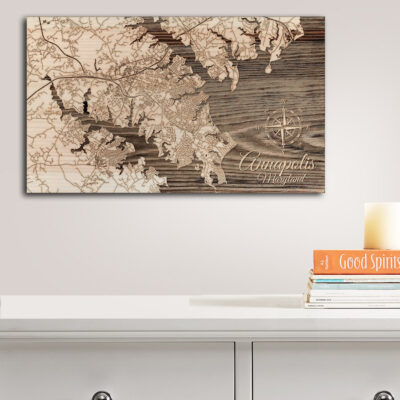 Annapolis - Chesapeake Bay Map, Wooden Wall Decor, Nautical Wall Art