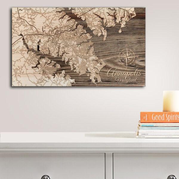 Annapolis - Chesapeake Bay Map, Wooden Wall Decor, Nautical Wall Art