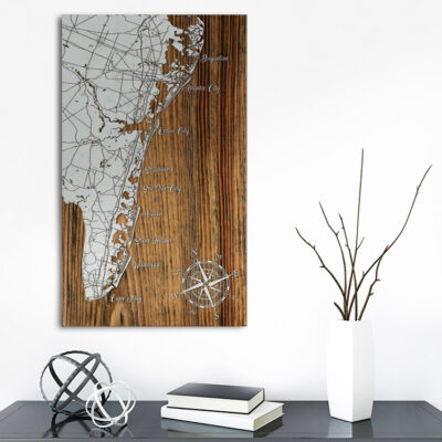 Jersey Shore, Atlantic City to Cape May Map, Wall Art, Wooden Map