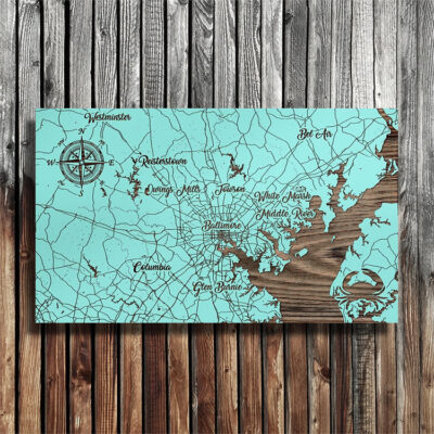 Baltimore Maryland Patapsco River, Wood Map, Nautical Decor, Chesapeake Wall Art