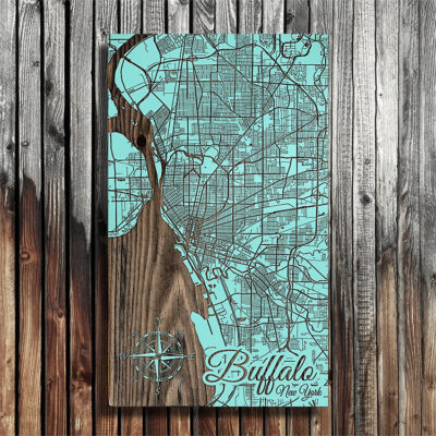 Buffalo NY Street Map, Wooden Wall Map of Buffalo on the Lake Erie Shore