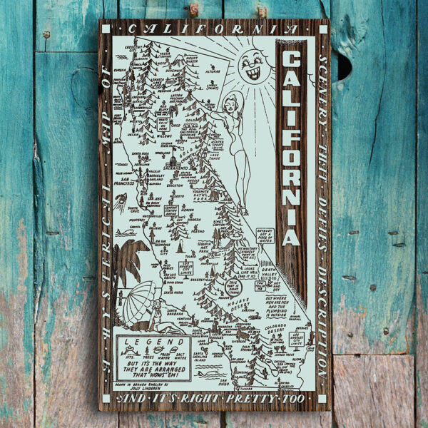 California Wood Map, Spoof Hysterical Map, California Wall Art, Poster printed on Wood