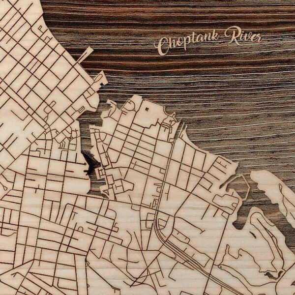 Cambridge MD, Choptank River Map, Wooden Sign, Laser-Carved Wall Art, Chesapeake Maritime