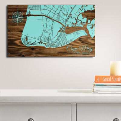 Cape May New Jersey Map, Wooden Sign of Cape May on the Jersey SHore