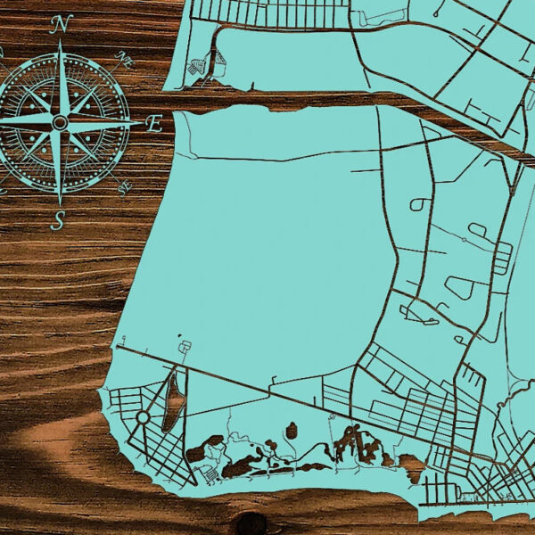 Cape May Jersey Shore Map, Wooden Beach House Decor