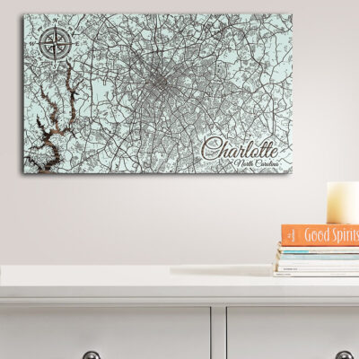 Charlotte NC Street Map, Wall Decor, Wooden Map of Charlotte