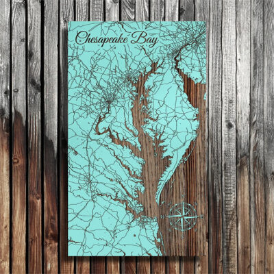 Chesapeake Bay Map, Wooden Wall Art, Nautical Decor, Chesapeake Bay Sign