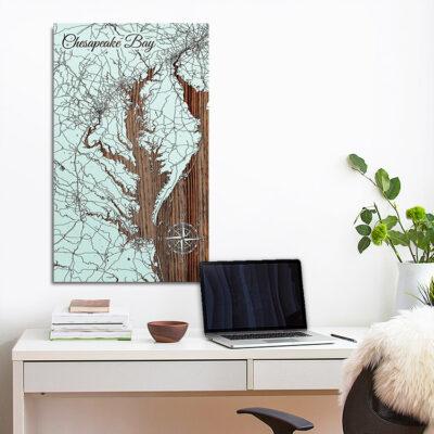 Chesapeake Bay Map, Wooden Wall Art, Nautical Decor, Chesapeake Bay Sign