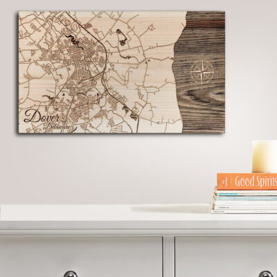 Dover Delaware Street Map, Wall Art, Poster Art printed on Wood, Dover AFB Map