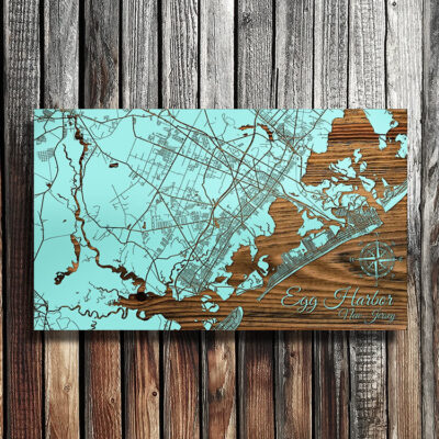 Egg Harbor, Atlantic City, Brigantine Map, Engraved Wood Jersey Shore Map