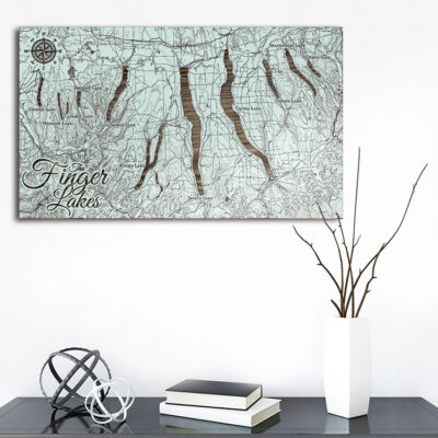 Finger Lakes NY Wooden Map, Laser-Carved Wall Art Home Decor