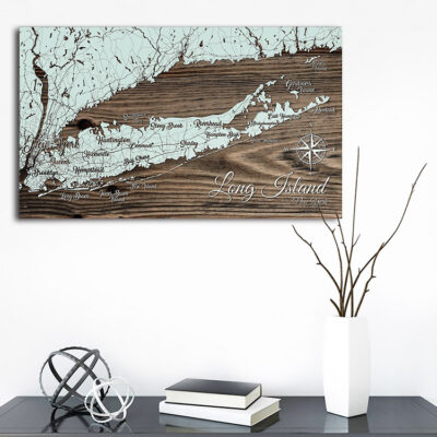 Long Island Map, Long Island Sound Wooden Map, Laser Carved Wall Art