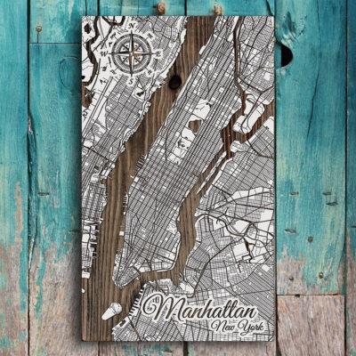 Manhattan NYC Street Map, New York City Wooden Map, Laser engraved wall art