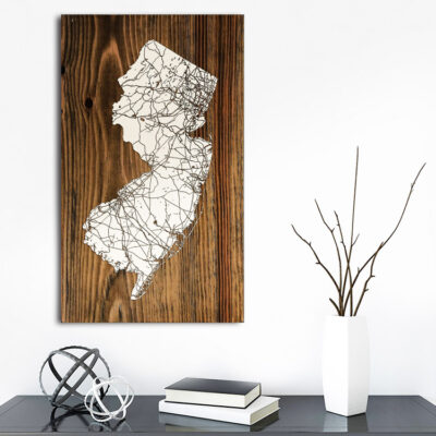 State of New Jersey Wood Map, Unique Engraved Wall Art, Home Decor