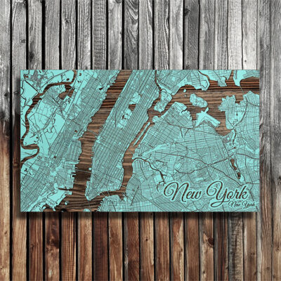 New York City Street Map carved in wood, NYC Wall Art