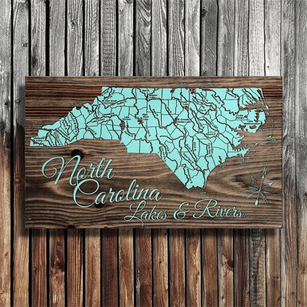 Wooden Map of North Carolina Lakes, Rivers, Lake Norman, Wall Art, Lake Poster, Lake Maps of NC