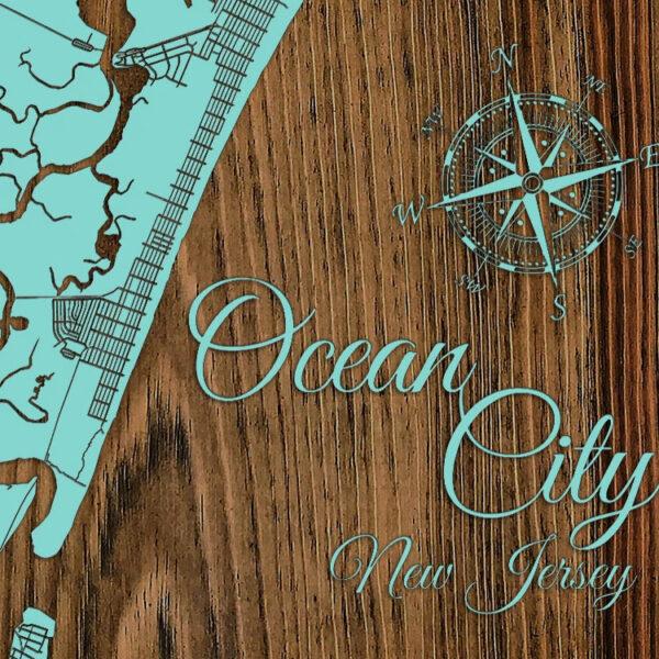 Ocean City NJ Wood Map, Nautical Beach House Decor