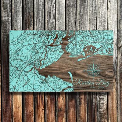 Raritan Bay, Staten Island, New York City, Manhattan Wooden Map, Wall Art, Home Decor