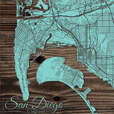 San Diego Street Map on Wood, Laser Cut Map of San Diego California