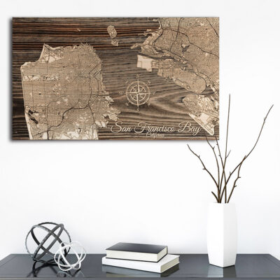 San Francisco Wall Map, Bay Area Wood Carved Sign