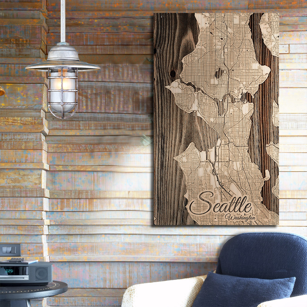 Seattle Wall Art Washington Custom Sign Seattle Home Decor New House Sign Wood Map Wall Decor 5th Anniversary for Couple Wood Map Gift Ideas