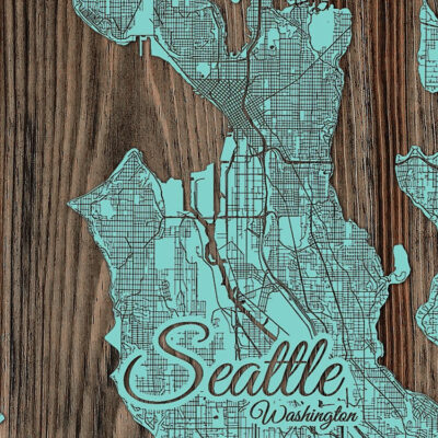 Seattle Washington Wood Map, Wall Art, Seattle Street Map etched in wood