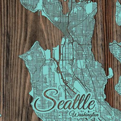 Seattle Washington Wood Map, Wall Art, Seattle Street Map etched in wood