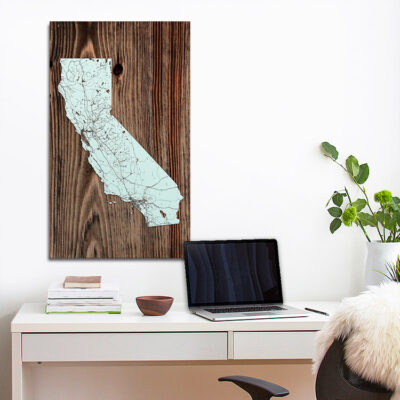 State of California Wood Map, Laser Carved Map, Home Decor
