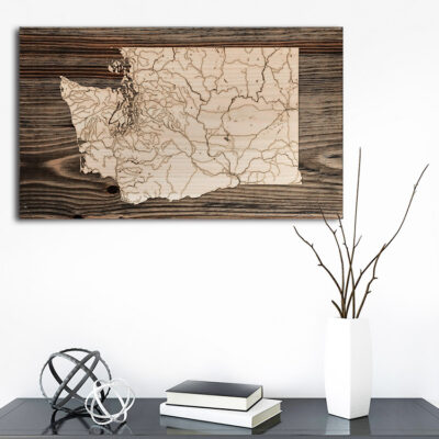 State of Washington Wood Map, Home Decor, Laser cut wall art