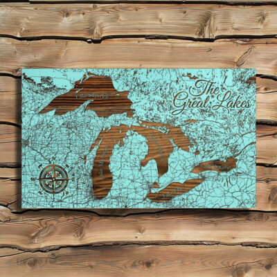 Great Lakes Wooden Map, Laser Engraved Wood Sign of the Great Lakes, Home Decor
