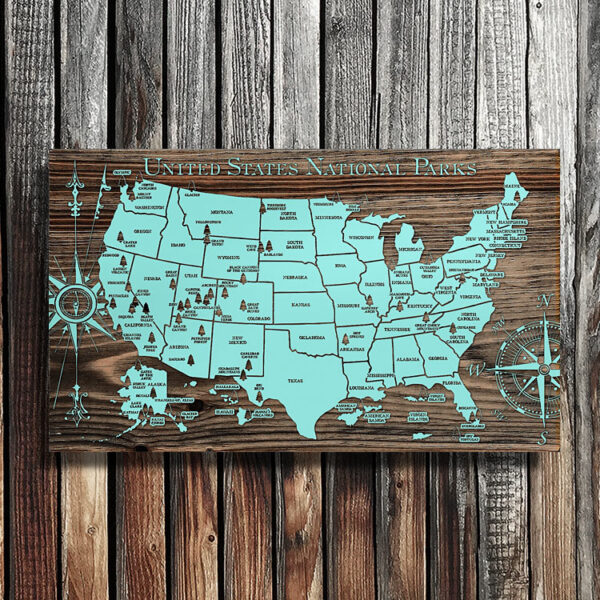 United States National Park Map, Wooden Map, Wall Art, National Park Art