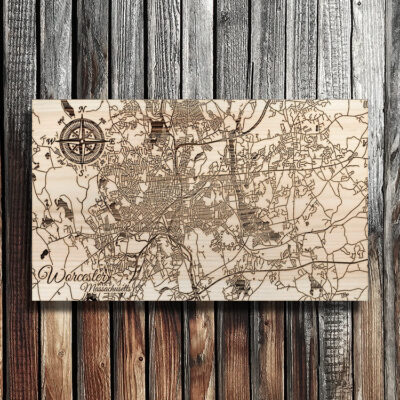 Worcester Massachusetts Map, Wooden Wall Map of the town of Worcester