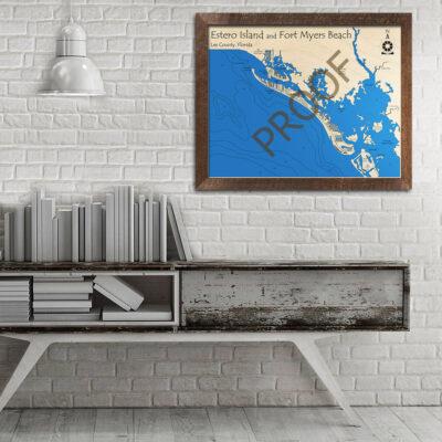 Estero Island WOod Map, Nautical Decor