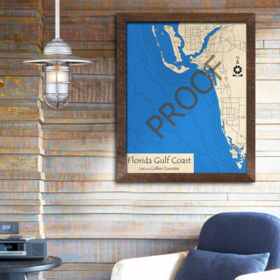 Florida Gulf Coast(Lee/Collier Counties) Wooden Map