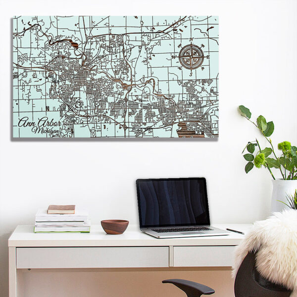 Michigan Ann Arbor Street Map, Wooden Wall Map, Laser Engraved Wood Map, Nautical Wood Chart