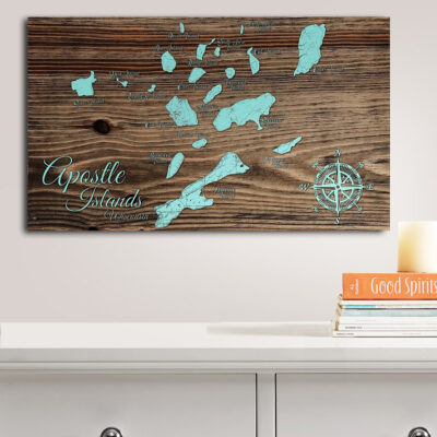 Apostle Islands, WI Whimsical Map, Wooden Map, Wall Art, nautical decor