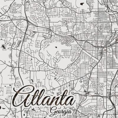 Atlanta Georgia Wooden Street Map, Wall Decor, Unique Atlanta Gifts