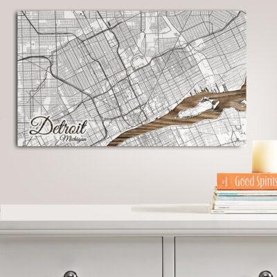 Detroit, Michigan Street Map, Wooden Wall Map, Laser Engraved Wood Map, Nautical Wood Chart