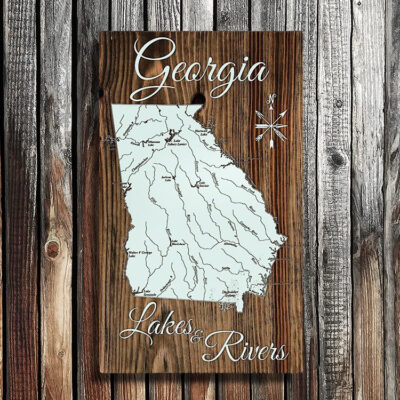 State of Georgia Wood Map, Lakes, Rivers, Nautical Decor, Wall Art