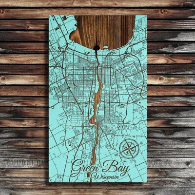 Green Bay WIsconsin, Lake Michigan Wooden Map, Laser Carved Nautical Wall Art