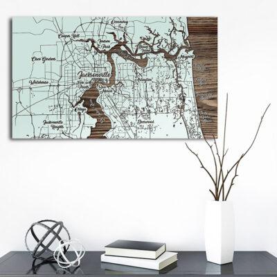 Jacksonville Florida Map, Wooden Sign, Nautical Decor, Wall Art