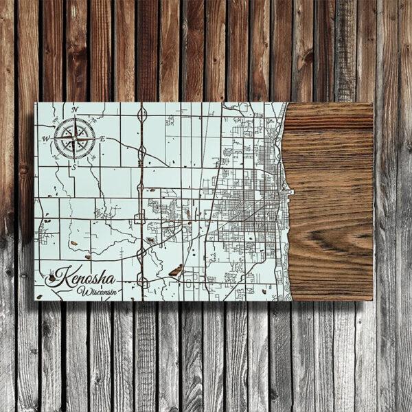 Lake Michigan - Kenosha Wisconson Map, Wooden Wall Map, Laser Carved Wall Art
