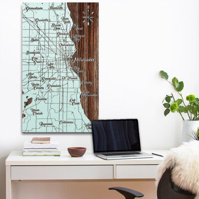 Milwaukee WI Lake Michigan Map, Wood Carved Map, Wall Art, SIgn
