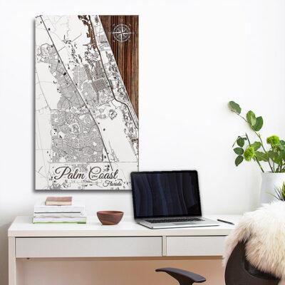 Palm Coast, Florida Street Map, Nautical Decor, Wall Map, Beach House Decor, Wall Art