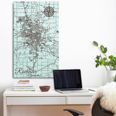 Rochester, Minnesota Street Map, Wood Map, Nautical Decor