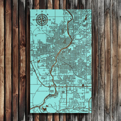 Rockford Illinois Wood Map, Laser Etched Map