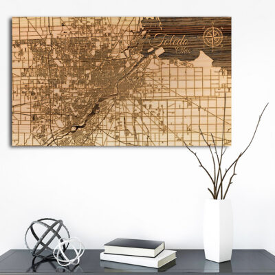 Toledo, Ohio Street Map, Wooden Wall Map, Laser Engraved Wood Map, Nautical Wood Chart